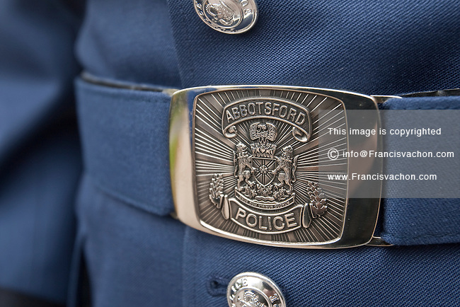 Abbotsford Police badge is seen during a police memorial parade in Ottawa Sunday September 26, 2010.