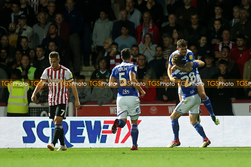 Michael Morrison (No 28) of Birmingham celebrates scoring their opening goal during Brentford vs Birmingham City, Sky Bet EFL Championship Football at Griffin Park on 2nd October 2018