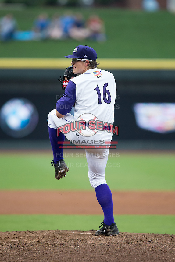 Winston-Salem Dash starting pitcher Carson Fulmer (16) in action against the Carolina Mudcats at BB&T Ballpark on July 23, 2015 in Winston-Salem, North Carolina.  The Dash defeated the Mudcats 3-2.  (Brian Westerholt/Four Seam Images)