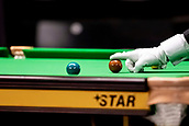 30th January 2019, Berlin, Germany;  A referee positions a brown ball on a snooker table at the German Masters 2019.