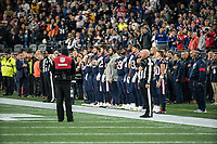 FOXBORO, MA - OCTOBER 10: Patriots organization during the National Anthem during a game between New York Giants and New England Patriots at Gillettes on October 10, 2019 in Foxboro, Massachusetts.