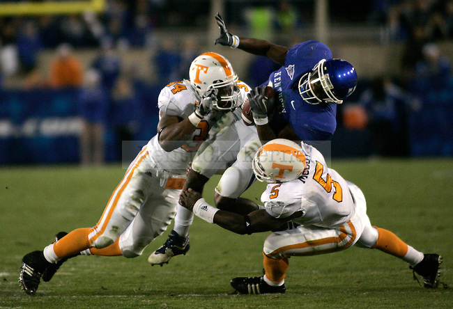 Wide receiver E.J. Fields gets tackled in the first half of the UK football game against Tennessee at Commonwealth Stadium on Saturday, Nov. 28, 2009. Photo by Adam Wolffbrandt | Staff