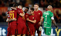 Calcio, Serie A: Roma, stadio Olimpico, 25 ottobre 2017.<br /> AS Roma Diego Perotti celebrates after scoring with his teammates during the Italian Serie A football match between AS Roma and Crotone at Rome's Olympic stadium, October 25, 2017.<br /> UPDATE IMAGES PRESS/Isabella Bonotto