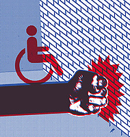 Disabled sign on clenched fist hitting brick wall