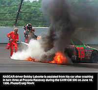 Bobby Labonte crashes at Pocono Raceway. Photo/Craig Houtz