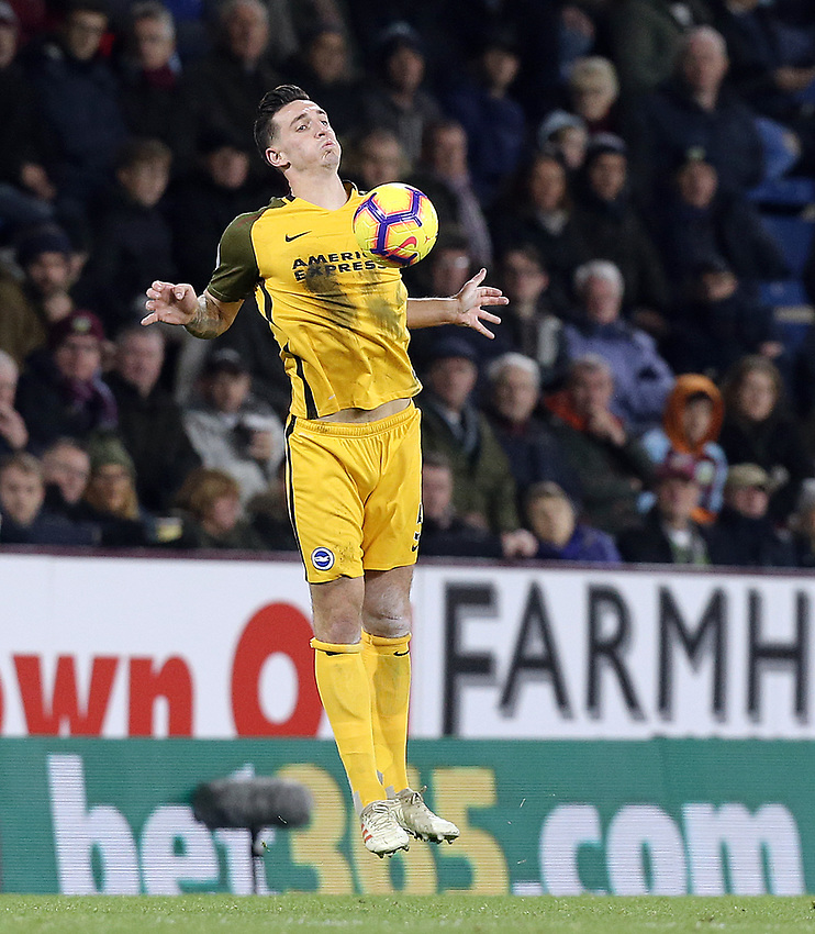 Brighton & Hove Albion's Lewis Dunk<br /> <br /> Photographer Rich Linley/CameraSport<br /> <br /> The Premier League - Burnley v Brighton and Hove Albion - Saturday 8th December 2018 - Turf Moor - Burnley<br /> <br /> World Copyright © 2018 CameraSport. All rights reserved. 43 Linden Ave. Countesthorpe. Leicester. England. LE8 5PG - Tel: +44 (0) 116 277 4147 - admin@camerasport.com - www.camerasport.com