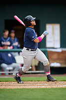 New Hampshire Fisher Cats designated hitter Harold Ramirez (23) follows through on a swing during the second game of a doubleheader against the Harrisburg Senators on May 13, 2018 at FNB Field in Harrisburg, Pennsylvania.  Harrisburg defeated New Hampshire 2-1.  (Mike Janes/Four Seam Images)