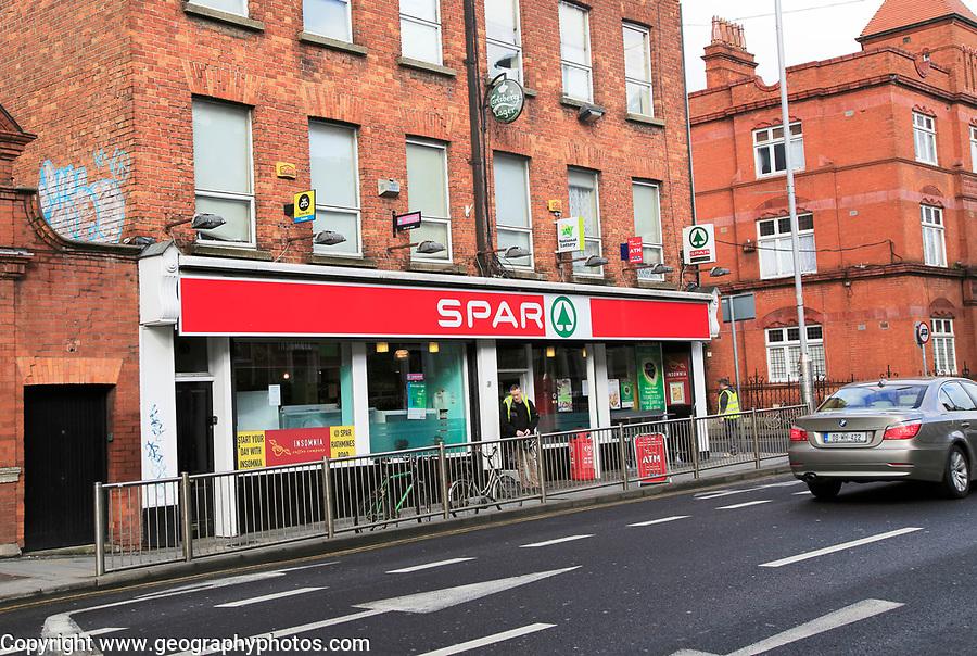 Spar convenience supermarket shop street corner, Rathmines Road, city centre of Dublin, Ireland, Irish Republic