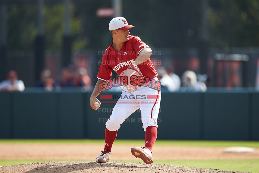 North Carolina State Wolfpack relief pitcher Nolan Clenney (39) in action against the Army Black Knights at Doak Field at Dail Park on June 3, 2018 in Raleigh, North Carolina. The Wolfpack defeated the Black Knights 11-1. (Brian Westerholt/Four Seam Images)