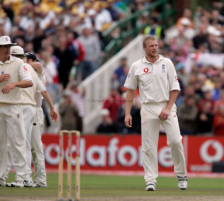 Photo: Peter Phillips..England v Australia. nPower Test Match Series, The Ashes 3rd Test. 15/08/2005..A delighted Andrew Flintoff celebrating the wicket of Matthew Hayden
