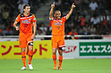 (R-L) Shinji Ono, Eddy Bosnar (S-Pulse),JULY 16, 2011 - Football :Shinji Ono of Shimizu S-Pulse celebrates with his teammate Eddy Bosnar after scoring their fitst goal during the 2011 J.League Division 1 match between Shimizu S-Pulse 2-1 Albirex Niigata at OUTSOURCING Stadium Nihondaira in Shizuoka, Japan. (Photo by AFLO)