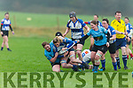 Siobhan Fleming having her jersey tested to the max by  Galwegians Marion Dolan and Orla Dixon tries to bring her to ground in O'Dowd Park on Sunday