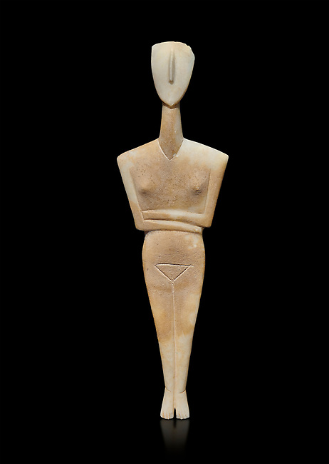 Ancient Greek Cycladic female figurine of the canonical type, Dokathismata variety, Early Cycladic period II, Syros phase, 2800-2300 BC, Museum of Cycladic Art, Athens.  Against black<br /> <br /> Attributed to the 'Ashmolean Museum Master'
