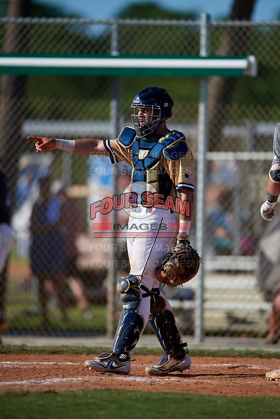 Kaden Hopson during the WWBA World Championship at the Roger Dean Complex on October 20, 2018 in Jupiter, Florida.  Kaden Hopson is a catcher from Redlands, California who attends Redlands East Valley High School and is committed to Arizona.  (Mike Janes/Four Seam Images)