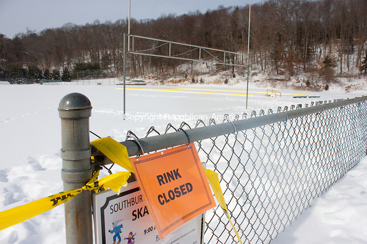 SOUTHBURY CT- FEBRUARY 12 2014 021214DA02- Officials believe that a broken down skating rink at Community Park in Southbury will not be useable again this year due to the liner which was punctured.