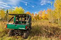 Polaris Ranger ATV parked in an autumn meadow in northern Wisconsin.