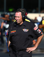 Jul. 26, 2013; Sonoma, CA, USA: NHRA crew member for top fuel dragster driver Troy Buff during qualifying for the Sonoma Nationals at Sonoma Raceway. Mandatory Credit: Mark J. Rebilas-
