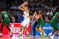 Real Madrid's player Felipe Reyes and Unicaja Malaga's player Oliver Lafayette and Dani Diez during match of Liga Endesa at Barclaycard Center in Madrid. September 30, Spain. 2016. (ALTERPHOTOS/BorjaB.Hojas) /NORTEPHOTO.COM