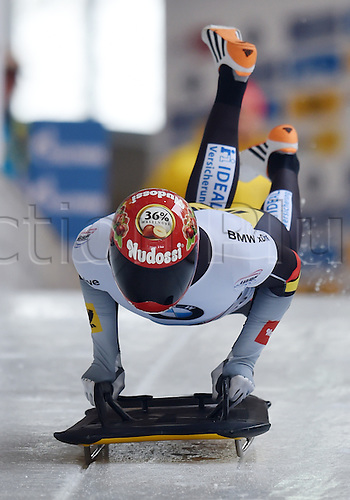 27.02.2016. Koenigssee,  Berchtesgaden, Germany. Axel Jungk of Germany in action during the Skeleton World Cup in Koenigssee, Germany, 27 February 2016.