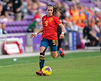 ORLANDO, FL - MARCH 05: Marta Cardona #9 of Spain dribbles during a game between Spain and Japan at Exploria Stadium on March 05, 2020 in Orlando, Florida.