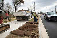 NWA Democrat-Gazette/CHARLIE KAIJO Harry Gonzales of Second Nature Landscaping (center) helps dig holes to plant Chinese Pistachio trees along Arkansas St. near the new roundabout, Friday, March 23, 2018 on Walnut Ave. west of the I-49 in Rogers. <br /><br />Rogers Mayors Greg Hines says the city will ask voters to extend the sales tax to pay for another package of street improvement bonds. Rogers voters approved a bond issue in 2011 that included more than $100 million for streets plus money for parks and other amenities.