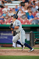 West Michigan Whitecaps third baseman Colby Bortles (30) follows through on a swing during a game against the Kane County Cougars on July 19, 2018 at Northwestern Medicine Field in Geneva, Illinois.  Kane County defeated West Michigan 8-5.  (Mike Janes/Four Seam Images)