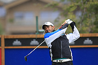 Pablo Larrazabal (ESP) tees off the 10th tee during a wet Saturday's Round 3 of the 2017 Omega European Masters held at Golf Club Crans-Sur-Sierre, Crans Montana, Switzerland. 9th September 2017.<br /> Picture: Eoin Clarke | Golffile<br /> <br /> <br /> All photos usage must carry mandatory copyright credit (&copy; Golffile | Eoin Clarke)