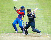 ICC World T20 Qualifier (Warm up match) - Scotland V Namibia at Grange CC, Edinburgh - Scotland bat Richie Berrington top-scored in the match - here hiting out past Namibia keeper Raymond van Schoor - with 61 not out, as Scotland won by 6 wickets — credit @ICC/Donald MacLeod - 06.7.15 - 07702 319 738 -clanmacleod@btinternet.com - www.donald-macleod.com