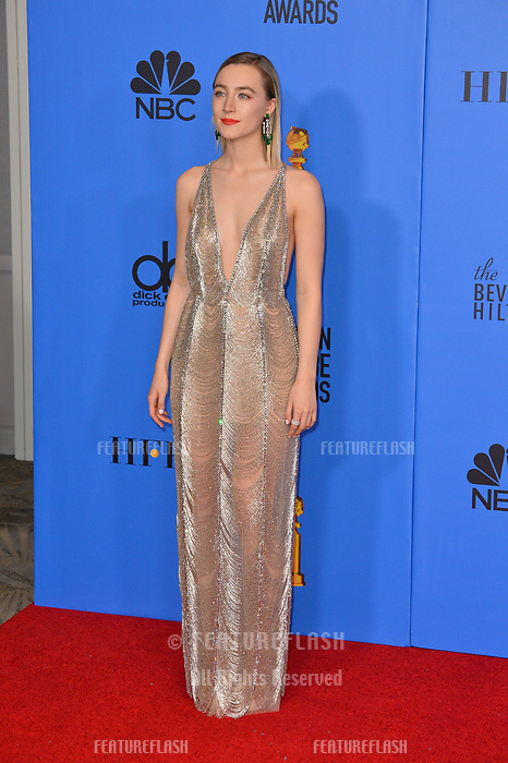 LOS ANGELES, CA. January 06, 2019: Saoirse Ronan at the 2019 Golden Globe Awards at the Beverly Hilton Hotel.<br /> Picture: Paul Smith/Featureflash