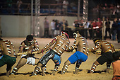 The Bororo men's tug of war team takes the strain during the International Indigenous Games, in the city of Palmas, Tocantins State, Brazil. Photo © Sue Cunningham, pictures@scphotographic.com 31st October 2015