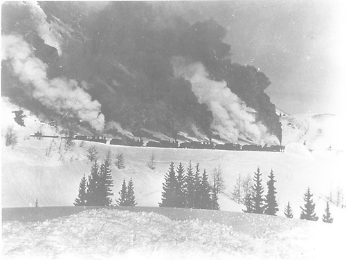 Rotary working snow being pushed by five engines.<br /> D&amp;RGW