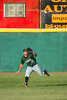 Augusta GreenJackets right fielder Tyler Horan (39) chases after a fly ball against the Hickory Crawdads at L.P. Frans Stadium on May 11, 2014 in Hickory, North Carolina.  The GreenJackets defeated the Crawdads 9-4.  (Brian Westerholt/Four Seam Images)