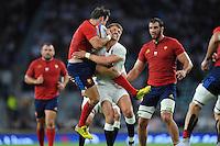 Morgan Parra of France clashes with Henry Slade of England - 15/08/2015 - Twickenham Stadium - London <br /> Mandatory Credit: Rob Munro/Stewart Communications
