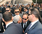 A handout photo made available by the Egyptian Presidency shows Egyptian President Abdel Fattah al-Sisi (C), is received at St. Mark's Cathedral in Cairo, to offer condolences after the killing of Egyptian Christians in Libya, at the Coptic Cathedral of Saint Marcos in Cairo, Egypt, 16 February 2015. An Islamic State video released on 15 February claimed to show the extremist group beheading 21 Egyptian Christians abducted in Libya more than a month ago. The Egyptian army responded on 16 February by an airstrike against the militants targeting bases and weapons storage facilities in Libya. Egyptian Presidency
