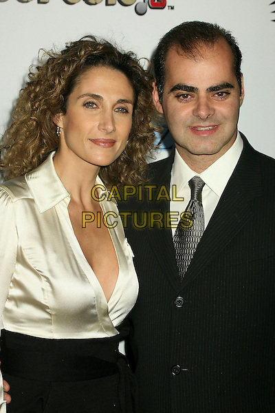 "MELINA KANAKAREDES & PETER CONSTANTINE.2nd Annual ""A Fine Romance"" Benfit for the Motion Picture & Television Fund at Sunset Gower Studios, Hollywood, California, USA,.18 November 2006..portrait headshot.CAP/ADM/BP.©Byron Purvis/AdMedia/Capital Pictures."