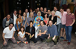 """Santinio Fontana, Reg Rogers, Michael McGrath, Sarah Stiles, Lilli Cooper, John Behlmann, Andy Grotelueschen and Julie Halston with cast during the Broadway Opening Night Actors' Equity Legacy Robe Ceremony honoring Jenifer Foote for """"Tootsie"""" at The Marquis Theatre on April 22, 2019  in New York City."""