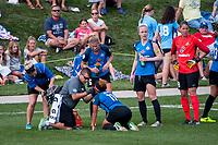 Kansas City, MO - Wednesday August 16, 2017: Desiree Scott, Katie Bowen, Becky Sauerbrunn, Nicole Barnhart during a regular season National Women's Soccer League (NWSL) match between FC Kansas City and the Orlando Pride at Children's Mercy Victory Field.