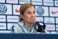 CHICAGO, IL - OCTOBER 6: Jill Ellis of the United States talks during a press conference during a game between Korea Republic and USWNT at Soldier Field on October 6, 2019 in Chicago, Illinois.