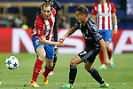 Atletico de Madrid's Diego Godin (l) and Real Madrid's Lucas Vazquez during Champions League 2016/2017 Semi-finals 2nd leg match. May 10,2017. (ALTERPHOTOS/Acero)