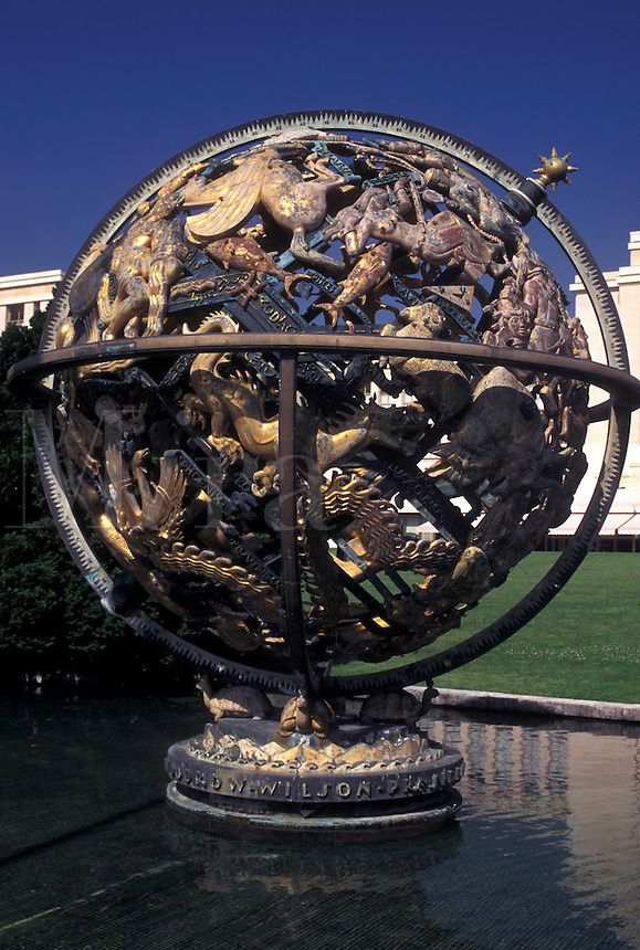 UN, Switzerland, Geneva, Palais des Nations Grounds, Globe of the world sculpture outside the European Headquarters of the United Nations in the city of Geneva.