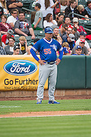 Oklahoma City Dodgers Manager Damon Berryhill (55) coaches from third base during the game against the Salt Lake Bees in Pacific Coast League action at Smith's Ballpark on May 25, 2015 in Salt Lake City, Utah.  (Stephen Smith/Four Seam Images)