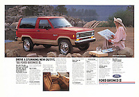 """Print Ad: """"Drive a stunning new outfit. '88. Ford Bronco II, California, 1987. Photo by John G. Zimmerman."""