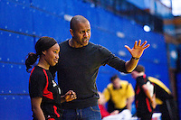 31 MAR 2010 - LONDON, GBR - Great Dane coach Paulo Sergio advises Iris Manu during the exhibition match against Ruislip Eagles at the National Sports Centre at Crystal Palace .(PHOTO (C) NIGEL FARROW)