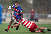Viliame Rarasea is tackled by Avea Momoisea. Counties Manukau Premier Club Rugby Semi-final game between Ardmore Marist and Karaka, played at Bruce Pulman Park Papakura, on Saturday July 14th 2018.<br /> Ardmore Marist won the game 53 - 8 after leading 22 - 3 at halftime. <br /> Photo by Richard Spranger.