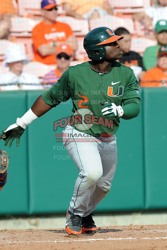 Right Fielder Chantz Mack #2 swings at a pitch during a  game against the Clemson Tigers at Doug Kingsmore Stadium on March 31, 2012 in Clemson, South Carolina. The Tigers won the game 3-1. (Tony Farlow/Four Seam Images).