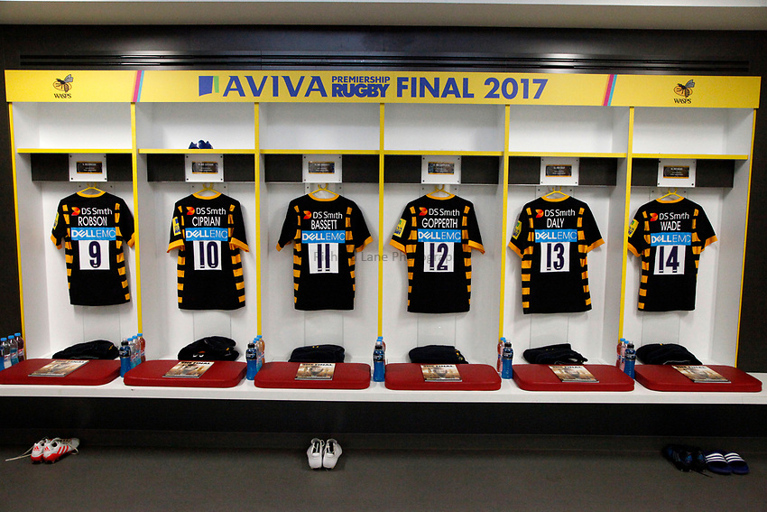 Photo: Richard Lane/Richard Lane Photography. Wasps v Exeter Chiefs. Aviva Premiership Final. 27/05/2017. Wasps changing room.