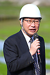 Takakuni Ikeda, vice president of the Japan Sport Council, speaks to members of the press at proposed site for a new national stadium on November 16, 2015 in Tokyo, Japan. <br /> The demolition work on the old National Stadium was officially completed at the end of October. <br /> Japan however still has to agree on a plan for the new stadium after the initial plans based on a design by Zaha Hadid were abandoned due to spiraling costs. <br /> The delays mean that the rugby World Cup final in 2019 will now be hosted in Yokohama and Japan aims to have the new national stadium ready by January 2020.<br /> (Photo by Shingo Ito/AFLO SPORT)