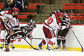 Patrick McNally (Harvard - 8), Garnet Hathaway (Brown - 23), Brayden Jaw (Harvard - 10), Massimo Lamacchia (Brown - 29) - The Harvard University Crimson defeated the visiting Brown University Bears 3-2 on Friday, November 2, 2012, at the Bright Hockey Center in Boston, Massachusetts.