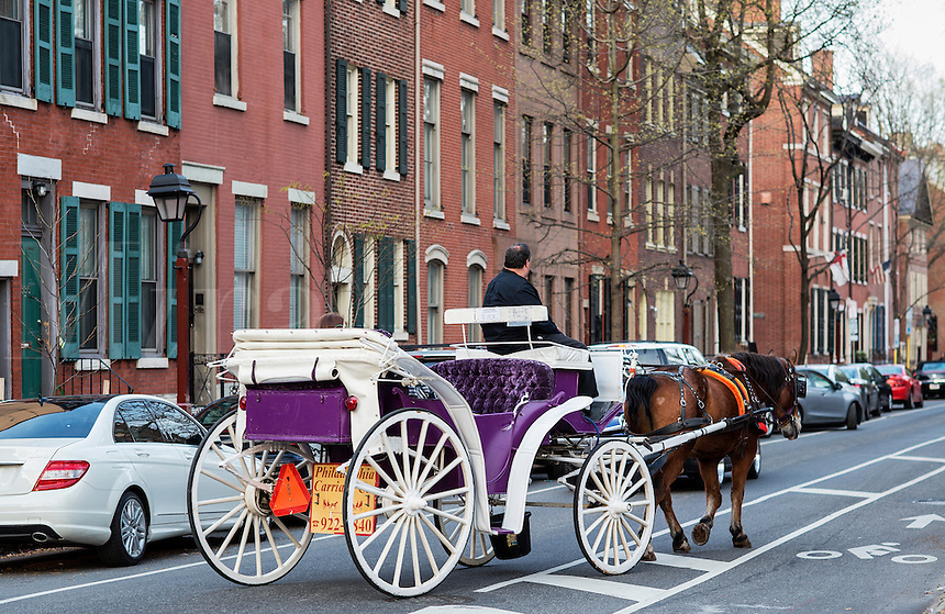 Horse drawn carriage tour of historic Philadelphia, Pennsylvania, USA