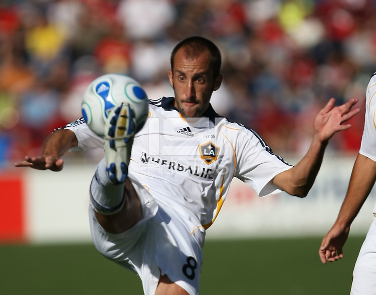 L.A. Galaxy midfielder Peter Vagenas clears a ball. The Chicago Fire defeated the Los Angeles Galaxy 1-0 to secure a spot in the MLS playoffs at Toyota Park in Bridgeview, IL., on October 21, 2007.